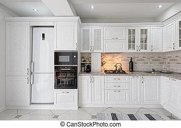 drewniany, wewnętrzny, biały, nowoczesny, kuchnia