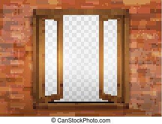 drewniany, windowsill., okno, vector.