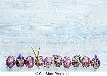 drewniany, wiosna, jaja, tło, kwiaty, wielkanoc