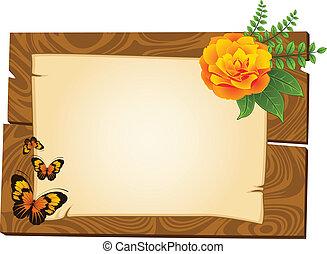 drewniany, wskazówki, kwiaty