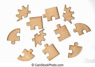 drewniany, wyrzynarka, odizolowany, kawałki, tło, biały, zagadka