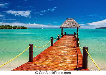 drewniany, wyspa, molo, ocean, tropikalny, rozsuwalny, fidżi, czerwony