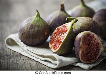 drewniany, zachwycający, figi, tło