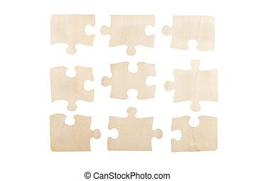 drewniany, zagadka, wyrzynarka, odizolowany, kawałki, górny, tło., prospekt., biały