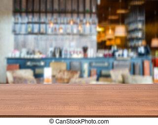 drewniany, zamazany, deska, przód, stół, kawiarnia, opróżniać