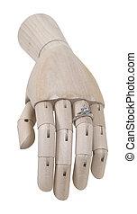 drewniany, zaręczynowe kolisko, diament, ręka