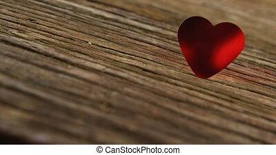 drewniany, zebrać, serce, deska, czerwony, 4k