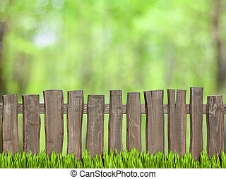 drewniany, zielone tło, płot
