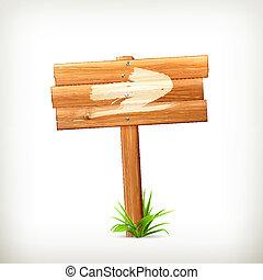 drewniany, znak, strzała