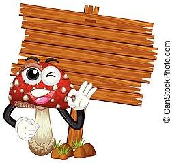 drewniany, znak, szablon, z, grzyb
