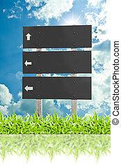 drewniany, znak, tablica ogłoszeń, na trawie, odizolowany, na, chmura nieba, tło