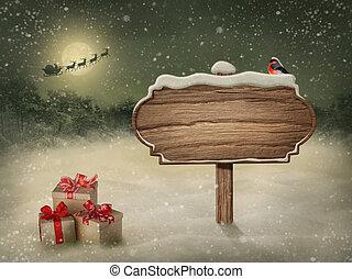 drewniany, znak, w, śnieg