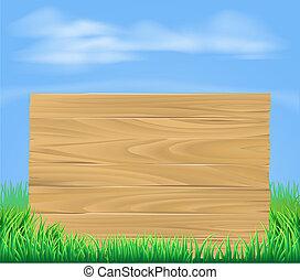 drewniany, znak, w, pole