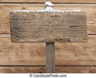 drewniany, znak, w, zima, z, copyspace