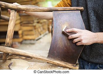 drewniany, zwrot, meble