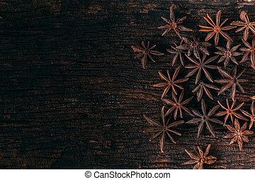 drewno, anyż, gwiazdy, tło.