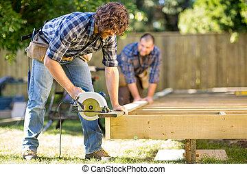drewno, coworker, stolarz, handheld, porcja, znowu, cięcie, ...