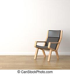 drewno, fotel, biały