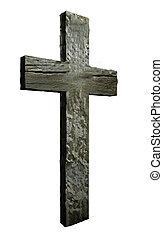 drewno, krzyż, robiony