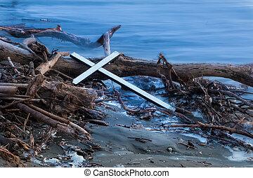 drewno, prąd, krzyż