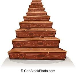 drewno, schody, rysunek