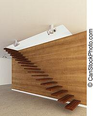 drewno, schody