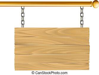 drewno, zawieszony, znak, ilustracja