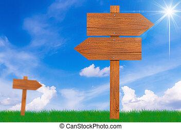 drewno znaczą, na, błękitne niebo