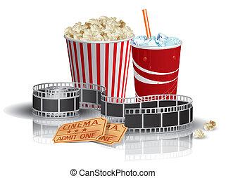 dricka, popcorn, filmstrip, lottsedlar
