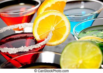 dricka, röd, cocktail