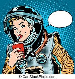 drickande, astronaut, kvinnlig, soda