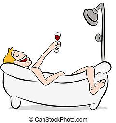 drickande, badkar, vin, man