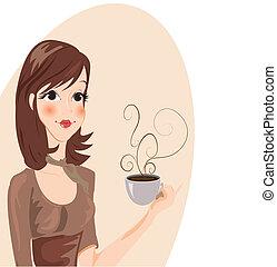 drickande, flicka, vektor, -, kaffe