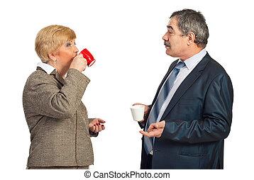 drickande, folk, kaffe, affär, mogna