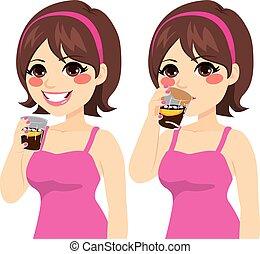 drickande, kvinna, cola