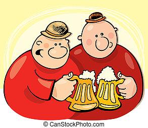 drickande, stötarna, öl