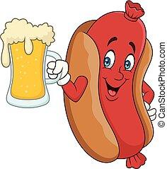 drickande, varm korv, öl, tecknad film