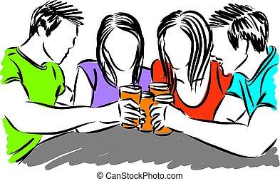 drickande, vektor, vänner, öl, illustration