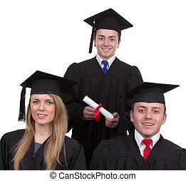 drie, afgestudeerdeen, in, een, driehoek, formatie, vrijstaand, op wit