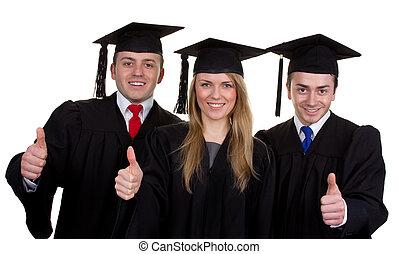 drie, afgestudeerdeen, met, een, beduimelt omhoog, meldingsbord, vrijstaand, op wit