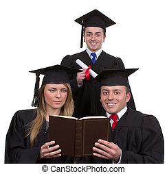 drie, afgestudeerdeen, samen, in, een, driehoek, vrijstaand, op wit