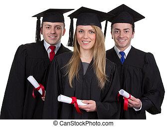 drie, afstuderen, met, rollen, tegen, een, witte achtergrond