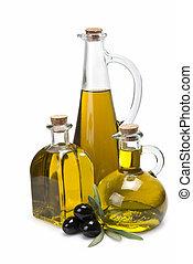 drie, anders, olijvenolie, bottles.