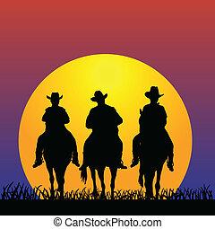 drie, cowboy, op, ondergaande zon