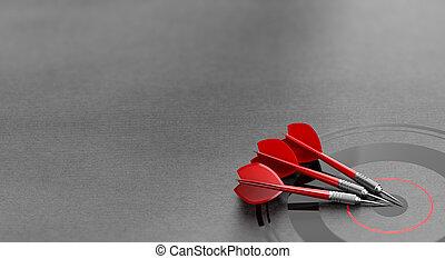 drie, darten, en, zakelijk, doel, achtergrond, en, copyspace, op, de, left., marketing, en, reclame, concept.