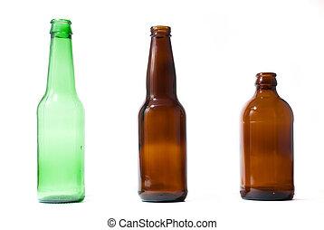 drie, emplty, bier bottelt, op, vrijstaand, backround.
