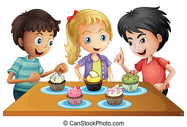 drie, geitjes, aan tafel, met, cupcakes