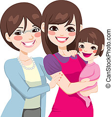 drie generatie, japanner, vrouwen