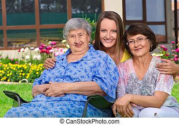 drie generatie, van, vrouwen, op, platteland