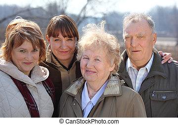 drie generaties, van, een, gezin